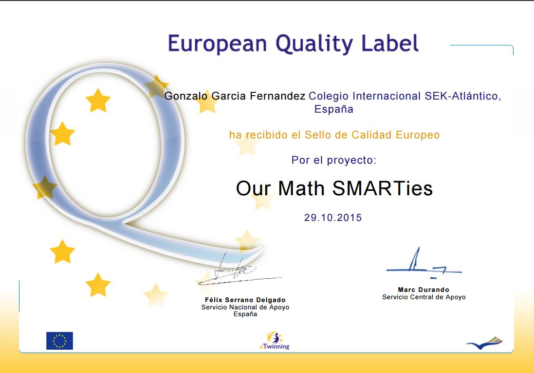 eTwinning European Quality Label por «Our Math SMARTies», un proyecto colaborativo